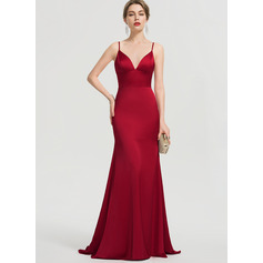 Trumpet/Mermaid V-neck Sweep Train Satin Prom Dresses (272214602)