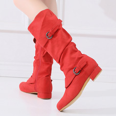 Women's Suede Dance Boots With Buckle Dance Shoes