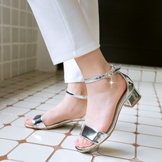 Women's Leatherette Chunky Heel Sandals Peep Toe With Chain shoes (087120675)