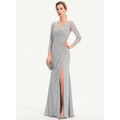 Sheath/Column V-neck Floor-Length Chiffon Evening Dress With Split Front (271204677)