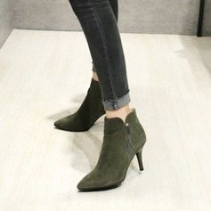 Women's Suede Stiletto Heel Pumps Closed Toe Ankle Boots With Zipper Tassel shoes