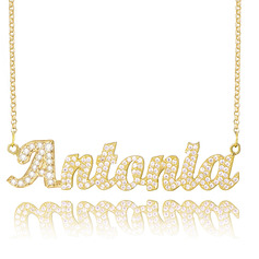 Custom 18k Gold Plated Silver Plate Name Necklace With Diamond - Birthday Gifts Mother's Day Gifts
