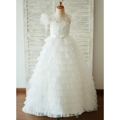 A-Line Sweep Train Flower Girl Dress - Tulle Short Sleeves Scoop Neck