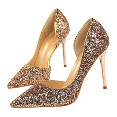 Women's Sparkling Glitter Stiletto Heel Sandals Pumps Closed Toe shoes (085209464)