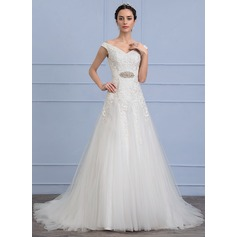 A-Line/Princess Off-the-Shoulder Court Train Tulle Lace Wedding Dress With Ruffle Beading
