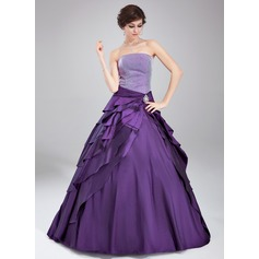 Ball-Gown Strapless Floor-Length Taffeta Quinceanera Dress With Crystal Brooch Cascading Ruffles (021020765)