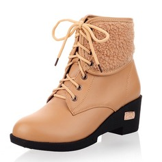 Women's Leatherette Chunky Heel Boots Ankle Boots With Lace-up shoes