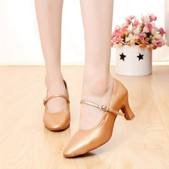 Women's Real Leather Pumps Ballroom With Buckle Dance Shoes