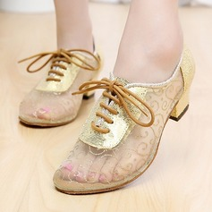 Women's Lace Flats Sneakers Latin Jazz Practice Party Tango With Lace-up Dance Shoes