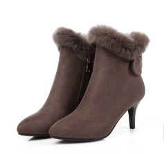 Women's Suede Stiletto Heel Pumps Boots With Bowknot Zipper Fur shoes (088103887)