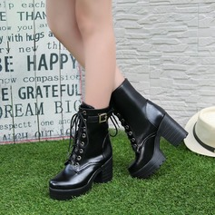 Leatherette Chunky Heel Platform Closed Toe Ankle Boots shoes