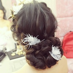Beautiful Feather/Silk Flower Hairpins (Set of 2)