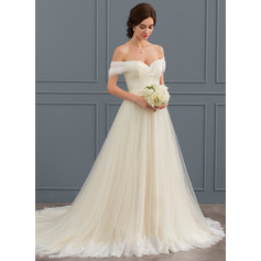 Off-the-Shoulder Court Train Tulle Lace Wedding Dress With Ruffle