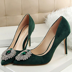 Vrouwen Fluwelen Stiletto Heel Closed Toe Pumps met Strass Anderen