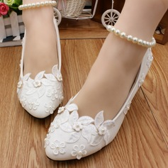 Women's Leatherette Stiletto Heel Closed Toe Pumps With Imitation Pearl Applique