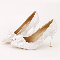 Women's Leatherette Stiletto Heel Closed Toe Pumps With Imitation Pearl Flower (047104111)