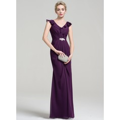 Sheath/Column V-neck Floor-Length Chiffon Evening Dress With Beading Cascading Ruffles