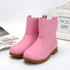 Girl's Closed Toe Real Leather Flat Heel Boots