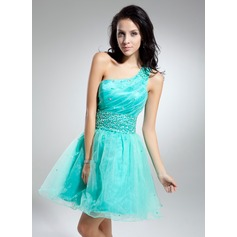 A-Line/Princess One-Shoulder Short/Mini Organza Cocktail Dress With Ruffle Beading