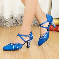 Women's Satin Heels Pumps Modern With Rhinestone Ankle Strap Dance Shoes