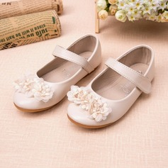 Girl's Closed Toe Leatherette Flat Heel Flats Flower Girl Shoes With Rhinestone Flower (207095556)