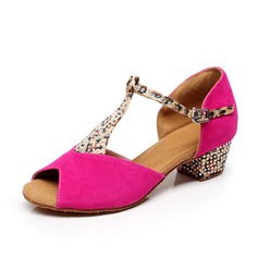 Women's Kids' Suede Heels Sandals Latin With T-Strap Dance Shoes