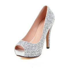 Women's Sparkling Glitter Stiletto Heel Pumps Peep Toe With Sparkling Glitter shoes