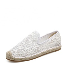 Women's Lace Flat Heel Flats Closed Toe With Others shoes (086138669)