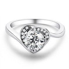 Heart Round Cut 925 Silver Engagement Rings (303261164)