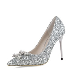 Women's Sparkling Glitter Stiletto Heel Pumps Closed Toe With Buckle shoes