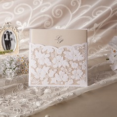 Personalized Floral Style Wrap & Pocket Invitation Cards With Beads  (114042962)