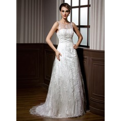A-Line/Princess Scoop Neck Sweep Train Lace Wedding Dress With Beading