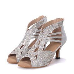 Women's Leatherette Latin With Rhinestone Dance Shoes