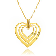 Custom 18k Gold Plated Silver Heart Engraving/Engraved Layered Three Heart Necklace Family Necklace With Kids Names - Birthday Gifts Mother's Day Gifts