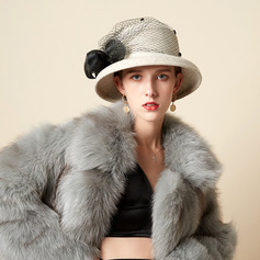 Ladies' Beautiful/Glamourous/Charming Wool Blend With Feather/Tulle Bowler/Cloche Hats