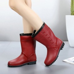 Women's PVC Low Heel Boots Mid-Calf Boots Rain Boots With Others shoes (088138746)