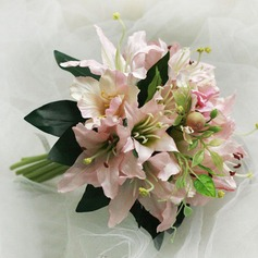 Pretty Lily Round Satin Bridal Bouquets