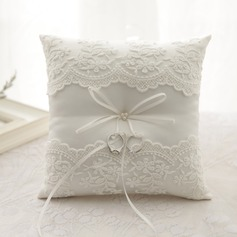 Classic Ring Pillow in Cloth With Bow/Faux Pearl/Lace