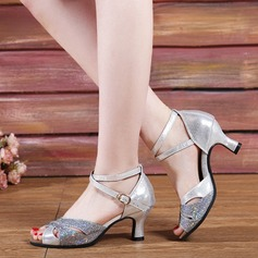 Women's Leatherette Sparkling Glitter Sandals Modern Jazz Ballroom Salsa Party Tango With Ankle Strap Dance Shoes (053113307)