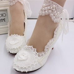 Women's Leatherette Stiletto Heel Closed Toe Pumps With Stitching Lace Pearl