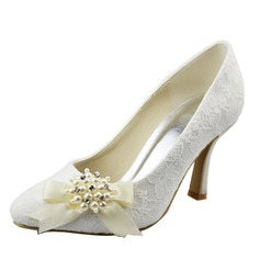 Women's Lace Spool Heel Closed Toe Pumps With Bowknot Imitation Pearl