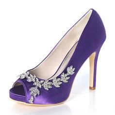 Women's Silk Like Satin Stiletto Heel Peep Toe Platform Pumps With Rhinestone
