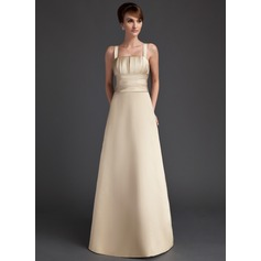 A-Line/Princess Square Neckline Floor-Length Satin Bridesmaid Dress With Ruffle