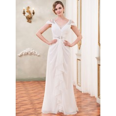 Trumpet/Mermaid Off-the-Shoulder Floor-Length Chiffon Wedding Dress With Beading Sequins Cascading Ruffles