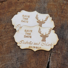 Personalized Lovly Reindeer Wooden Save-the-date Magnets