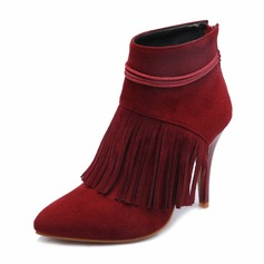 Women's Suede PU Stiletto Heel Closed Toe Boots Ankle Boots With Tassel shoes