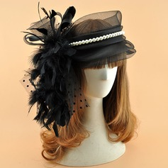 Ladies' Vintage Organza With Feather/Imitation Pearls Fascinators/Kentucky Derby Hats