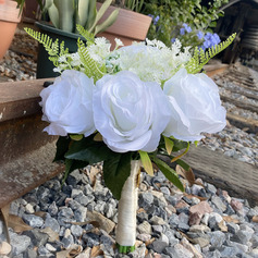 Classic Hand-tied Satin/Imitation Pearl/Silk Flower/Artificial Flower Bridal Bouquets/Bridesmaid Bouquets (Sold in a single piece) - Bridal Bouquets/Bridesmaid Bouquets