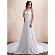 A-Line/Princess Sweetheart Chapel Train Chiffon Wedding Dress With Ruffle Beading
