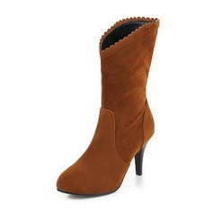 Women's Suede Cone Heel Pumps Boots Mid-Calf Boots With Others shoes